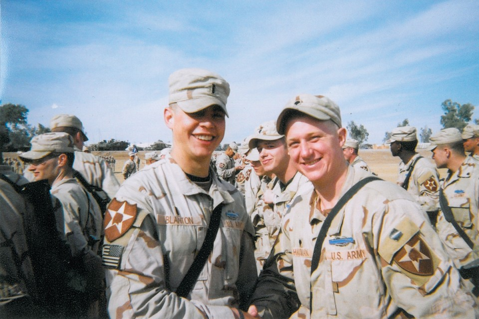 Jacob, right, receiving his Combat Infantry Badge from Lieutenant Blanton in Mosul, Iraq, 2004. Photo provided by Jacob Hausman.