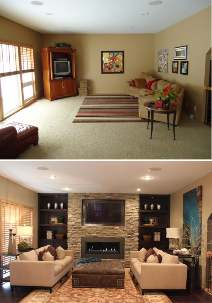 Before & After of the Great Room.