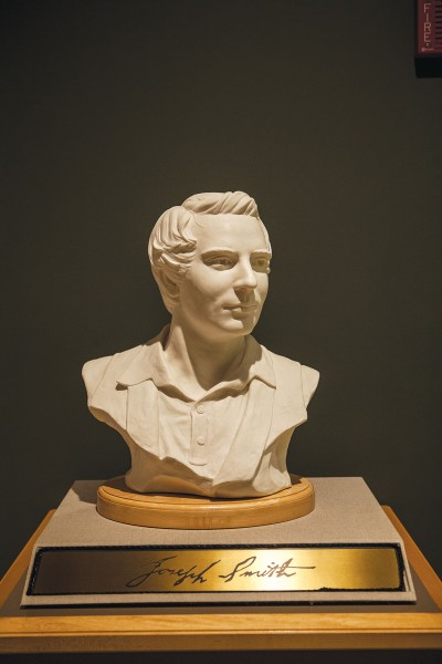 A bust of the founder of the Church of Latter-Day Saints,  Prophet Joseph Smith, is displayed with honor.