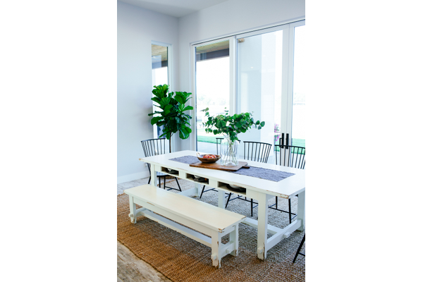 white dining table with bench, chairs