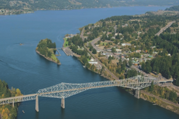 Aerial View of the Bridge of the Gods at Cascade Locks, Oregon
