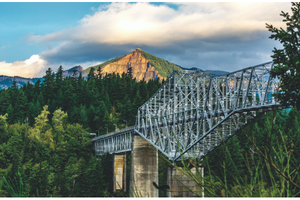 Bridge of the Gods from Oregon at Cascade Locks looking toward the Washington shore Greenleaf Peak in the distance