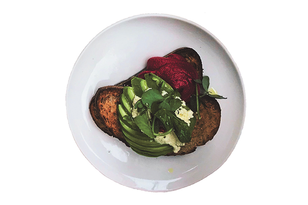Plate of Avocado and Beets