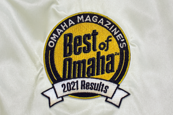 Best of Omaha patch on silk jacket