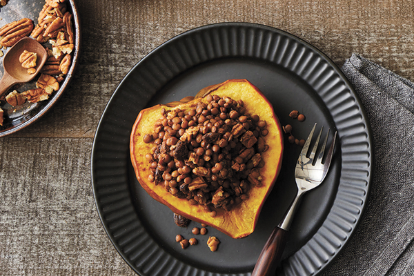 Lentil, raisin, pecan-stuffed acorn squash recipe