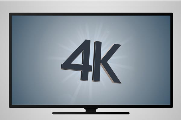 "Stock image of a flat screen TV with the words ""4K"" on the screen"
