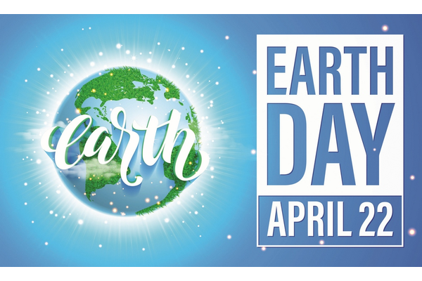 An Eath with the words earth in white over it and the words Earth Day April 22 next to it.