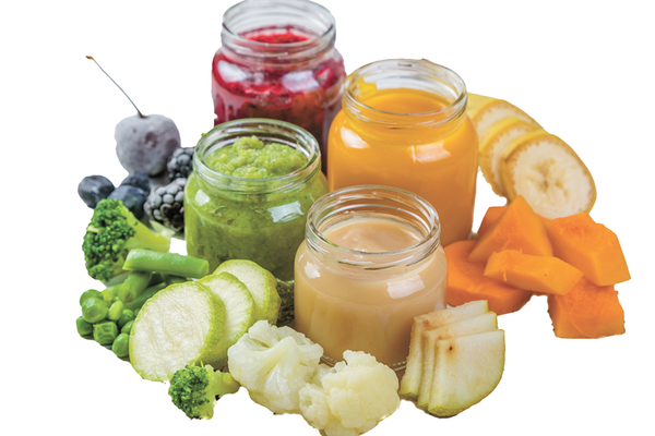 Healthy homemade baby food in jars using superfoods broccoli, cauliflower, blueberries, blackberries, cherries, peas, zucchini, pears, bananas, and squash