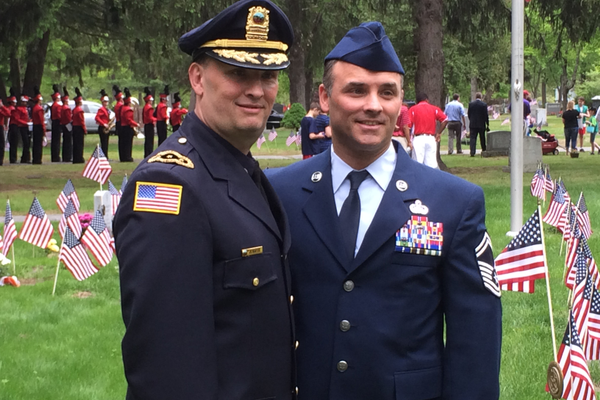 Deputy Police Chief John Voto and his brother, Senior Master Sgt. Stephen Voto.