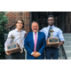 Bellingham High football coach Dan Haddad is flanked by his co-MVPs quarterback Gavin Elder left and wide receivercornerback Chris Domercant Photo submitted by LeighAnne Pendlebury
