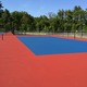 The new tennis courts at Tewksbury High School are nearly completed.
