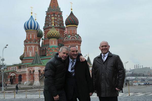 Swanson, Skvortsov, and Artemyev in front of St. Basil's Cathedral. (#20)