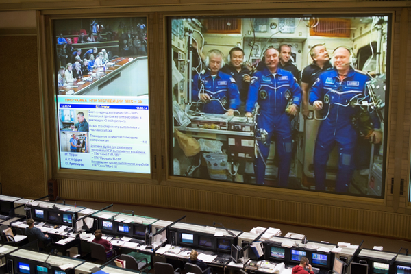 Mission Control Center shows Expedition 39 crew members on the International Space Station. (#14)