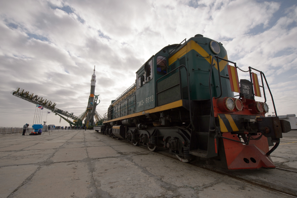 The gantry arms secure the Soyuz TMA-12M spacecraft at the launch pad. (#11)