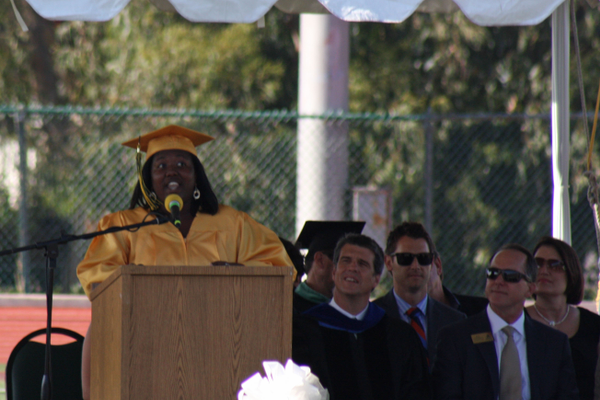 Asia White delivers her speech.