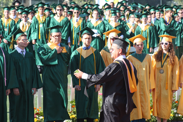 The Senior Choir sang the Mira Costa alma mater under Michael Hayden's direction.
