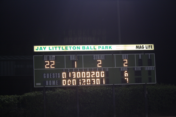 Scoreboard after walk off in 9 innnings vs. Upland to advance to the championship.