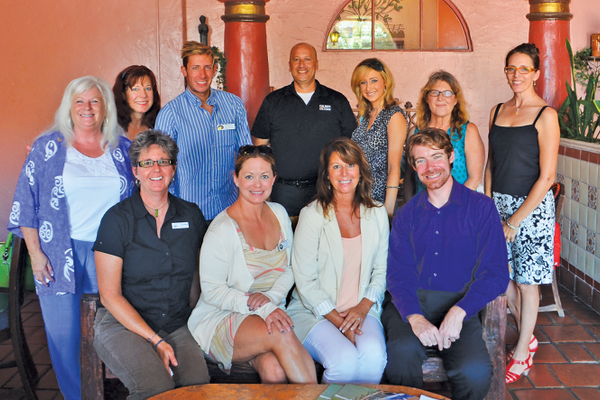 San Clemente Chamber Networking Luncheon at Cafe Calypso, July 31.  Donia Moore, Lori Bittner, Ben Medina, Chris Cobos, Brittany Pavlisin, Sharon Bryant, Susan Hill, Vickey Wilson, Kelly Finney, Sue Puccinelli and Patrick Ryan.